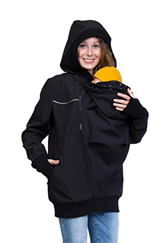 Viva la Mama - Tragejacke mit Reflektoren, Umstandsjacke, Winterjacke Kängurujacke für Babytragen - Jacky - schwarz/Punkte - L