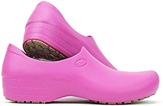 Sticky Comfortable Work Shoes for Women - Nursing - Chef - Waterproof Non-Slip Pro Shoes (Pink, 9.5)