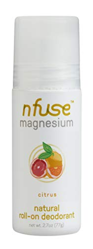 nfuse Natural Magnesium Roll-on Deodorant - Patented Magnesium Delivery Technology - Aromatherapeutic Essential Oils - Citrus: Energize + Uplift