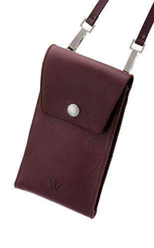 Schoudertas voor mobiele telefoon met veel vakken en ruimte, van leer, premium leer rood, geschikt voor iPhone, Samsung Galaxy, LG, Huawei
