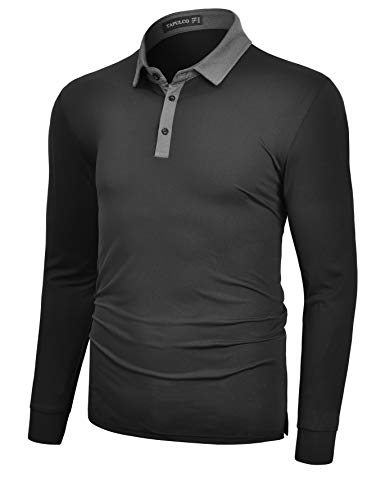 TAPULCO Men's Moisture Wicking Dry Fit Long Sleeve Golf Polo Shirts High Stretchy Breathable Collar Daily Wear Tshirts Black Medium