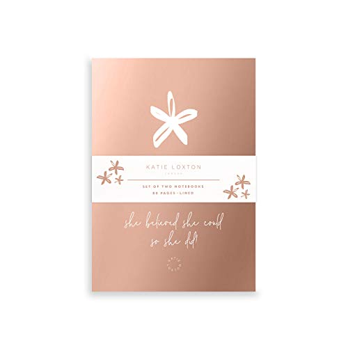 Katie Loxton Rose Gold Flower Duo Pack 6 x 4 Mini Paper Cover Notebook Set of 2