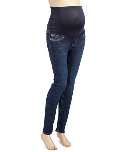 RUMOR HAS IT Maternity Embroidered Over The Belly Straight Jeans (Small, Dark)