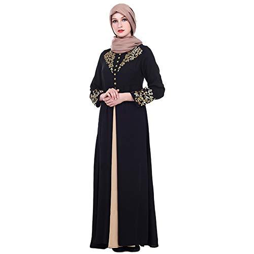 Qduoduo Abito Lungo Arabo Abaya Golden Print Robe Girls Dubai Kaftan Abito Donna Manica Lunga Mmusulmano Nero M