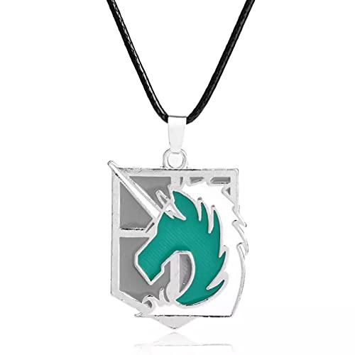 SOTUVO Collar Anime Ataque en Titán Shingeki no Kyojin Collar de Cadena de Cuerda Cosplay Regimiento de policía Militar Insignia Colgante Collar
