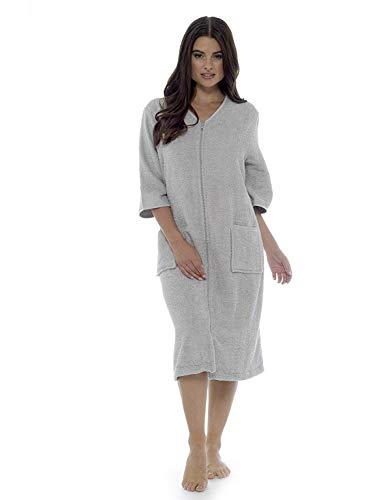 CityComfort® Handtuch Damenhandtuch Durchgehendes oder Badetuch mit Reißverschluss für Damen - Großer Handtuch Bademantel (M, Silber Zip)