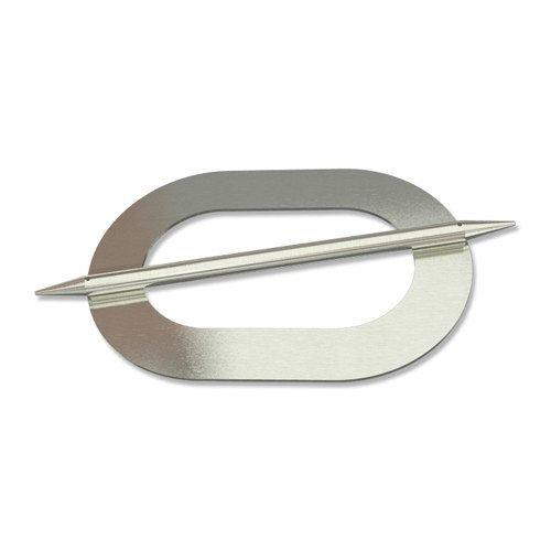 INTERDECO Raffspangen/Gardinenspangen (2 Stück) Edelstahl Optik aus Metall, Avos Oval