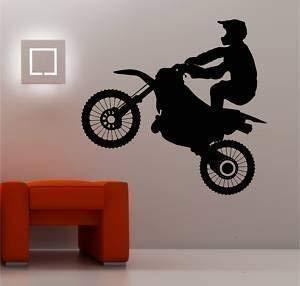 Online Design Énorme Motocross Vélo Art Mural Autocollant Vinyle Chambre d'enfant - Bleu