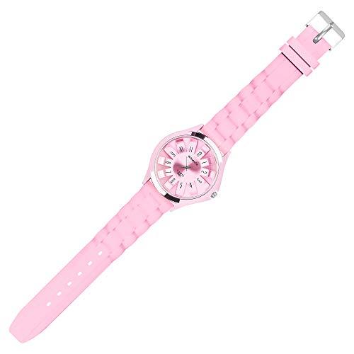 Taffstyle Unisex Armbanduhr Analog Quarz mit Silikon-Armband Metall Sportuhr Damen Herren Uhr Rosa