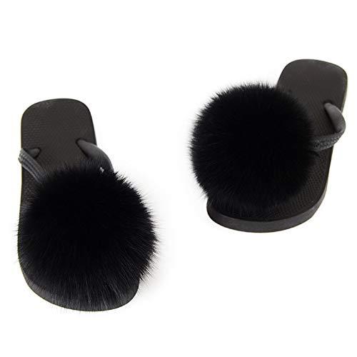 Sandalias de Dedo con Bola de Pelo Zorro Zapatillas de Piel al Aire Libre Zapatillas de Estar por Casa para Verano y Primavera (Negro, numeric_39)