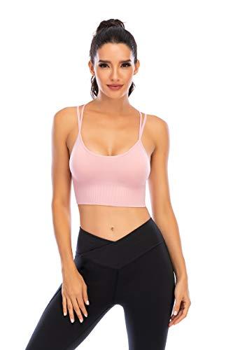 Enjoyoself Damen Sport-BH Yoga BH Bügellos Push Up Sports Bra mit Kreuz Rücken Chic Sport Bustier für Leicht Sport oder Alltag Rosa,L