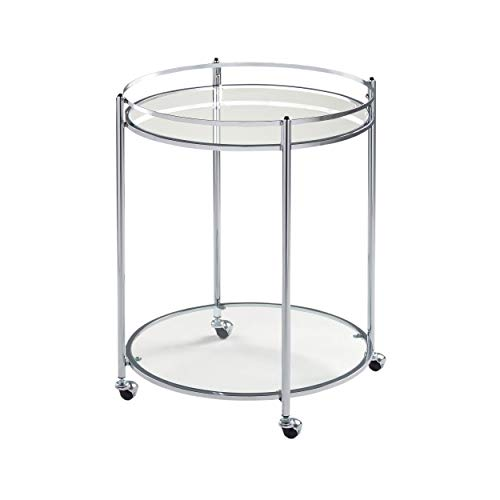 Studio Designs Home Veranda Bar Round Cart In Chrome with Clear Glass 71006