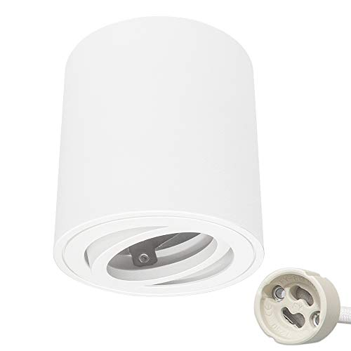 KYOTECH Focos LED Techo Focos Superficie giratorio Lámpara de techo empotrable incl. portalámpara GU10 foco empotrable Lampara focos techo blanca adecuado para módulos GU10 & LED