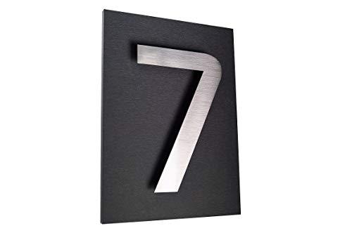 Hausschild 7 Hausnummer 2D Edelstahl V2A H20cm ITC Bauhaus Design Platte: 29x21cm diamant-anthrazit unsichtbare Befestigung