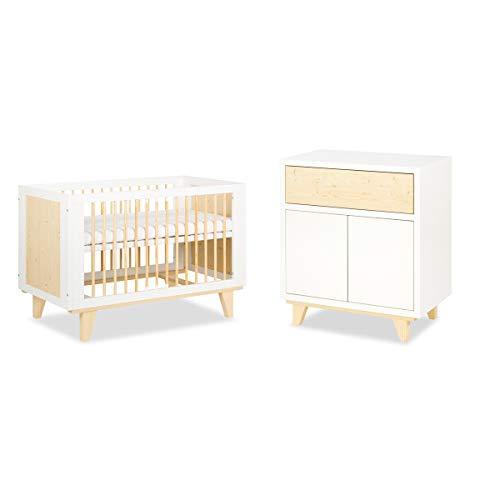Lit bébé 60x120 et Commode à langer LittleSky by Klups Lydia - Blanc