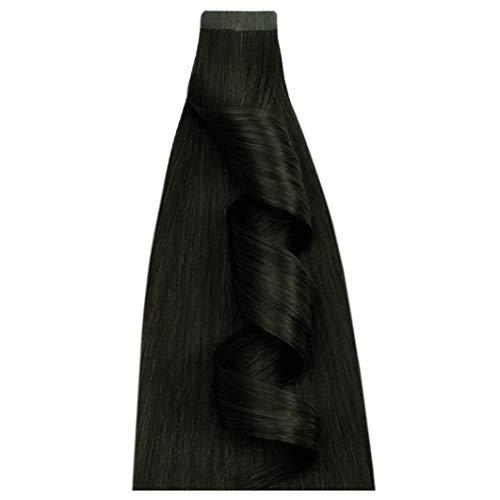 Desinas® ProDeluxe Tape Extensions aus Echthaar in Salonqualität | Haarverlängerung 50cm | schwarz