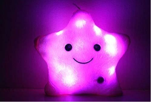 Creative Twinkle Star brillante LED luz nocturna luminosa almohada de peluche juguetes de peluche almohada cojín suave relajante regalo sonrisa 4 colores almohadas cuerpo (color al azar)
