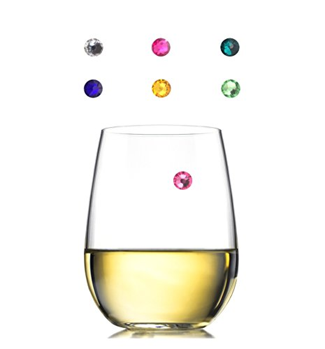 Swarovski Crystal Magnetic Wine Glass Charms - Set of 6 - Storage Box Included - Works with All Types of Glasses - Great Party or Gift Idea - Best Value - By Avito