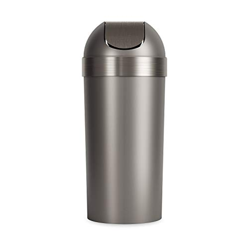 Umbra Venti Swing-Top 16.5-Gallon Kitchen Trash Large, 35-inch Tall Garbage Can for Indoor, Outdoor or Commercial Use, Pewter
