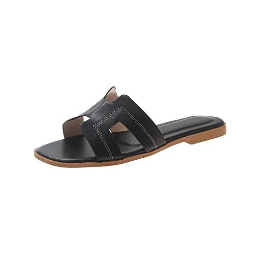 HUSHUI Antideslizantes Chanclas y Sandalias,Sandalias de Playa Planas, Zapatillas de Moda para Verano-Black_38,Bañarse Chanclas de Casa Suave Zapatos