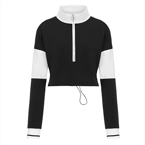 BCDshop Womens Fashion Zipper Color Block Long Sleeve Crop Tops Pullover Sweatshirt