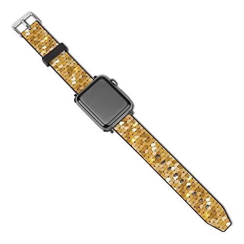 Banda Compatible Con Correa Apple Watch Para Mujeres Hombres Dorado Brillante Correa De Repuesto De Cuero Pu Para Iwatch Series 5/4/3/2/1 38mm/40mm