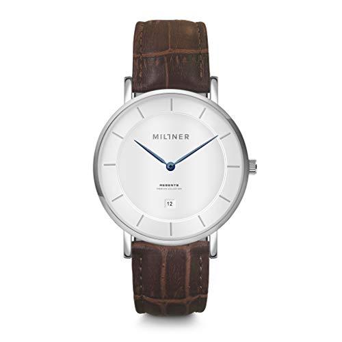 Reloj de hombre Millner Regents Golden Brown de acero y cuero MLW0036