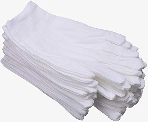 CTKcom White Soft Cotton Gloves,Large Size for Work/Lining Glove,Coin Jewelry Silver Inspection Gloves(12 Pairs)