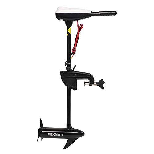 """PEXMOR Electric Trolling Motor 55LBS Thrust Saltwater Transom Mounted w/LED Battery Indicator 8 Variable Speed for Inflatable Boats, Jon Boat, Pontoon Fishing Boat (36"""" Shaft)"""