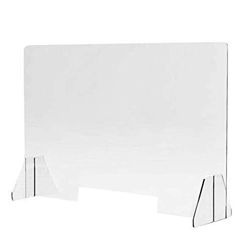 Protector de plexiglás portátil ligero para contadores de estornudos y tos | (40 x 40 x 0,4 cm) acrílico transparente | Barrera de protección contra recepción para empleadores, trabajadores y clientes