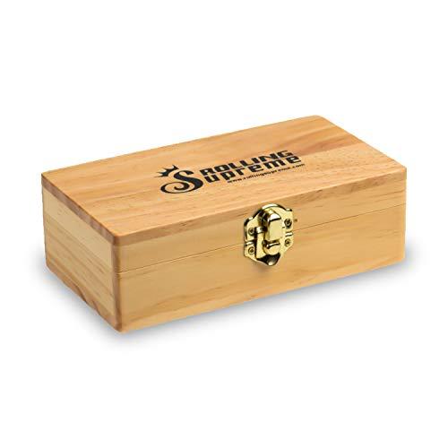 RS Jointbox - Tabacchiera in legno con 3 scomparti, dimensioni: 155 x 85 x 48 mm Vano a scomparsa, rollatore medio.