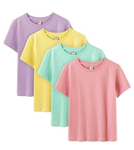 LAPASA T-Shirt Enfant en 100% Coton Pur Uni Manches Courtes Lot de 4 K01 (Violet Clair, Jaune Clair, Vert Menthe, Rose, 6 Ans (Tour de Poitrine : 36cm))