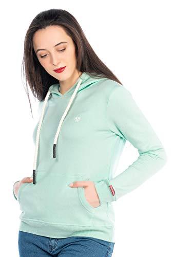 Damen Sweater Streetwear Pullover Pulli Sweat-Shirt Hoodie Kapuzenpulli Soft kuschelig 506 (Mint-Grün, L)