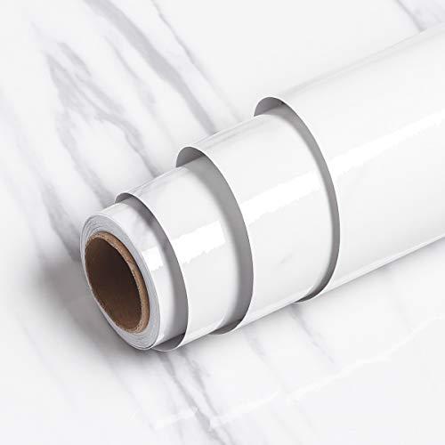 Livelynine Marmor Folie Weiß Grau Klebefolie Tisch Marmorfolie Selbstklebend Dekorfolie für Fensterbank Küche Arbeitsplatte Schminktisch Küchenrückwand Küchen Arbeitsplatten Klebe Folie Möbel 40CMX2M