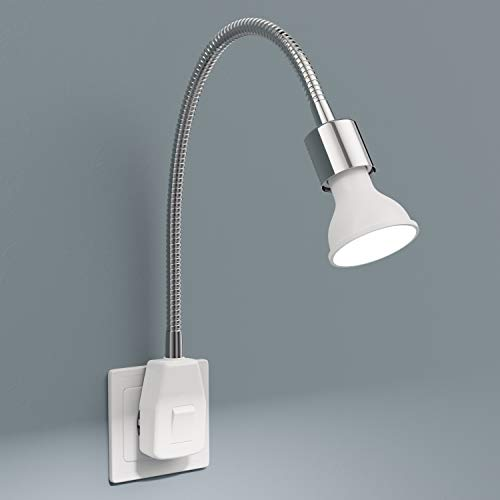 ledscom.de Lámpara de enchufe LESCH lámpara de lectura SchWANEnhals interruptor cromado + GU10 lámpara LED 6.2W blanco 3 pasos de regulación: máx. 540lm