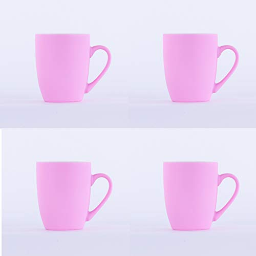 Homevibes Juego De 4 Tazas De Ceramica De Desayuno, Tazas para Infusiones, Taza Mug Ceramica, Set de 4 Tazas para Cafe o Te (Rosa)