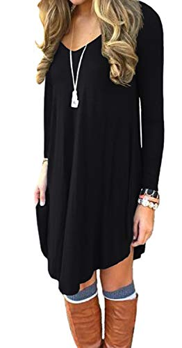 DEARCASE Women's Long Sleeve Casual Loose T-Shirt Dress Black Large