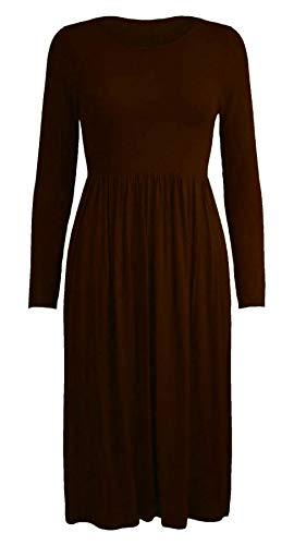 Islander Fashions Damen Lange Frankie Ausgestelltes Skater Jersey Kleid Damen Phantasie Rauch Schaukel Kleid Braun X Large