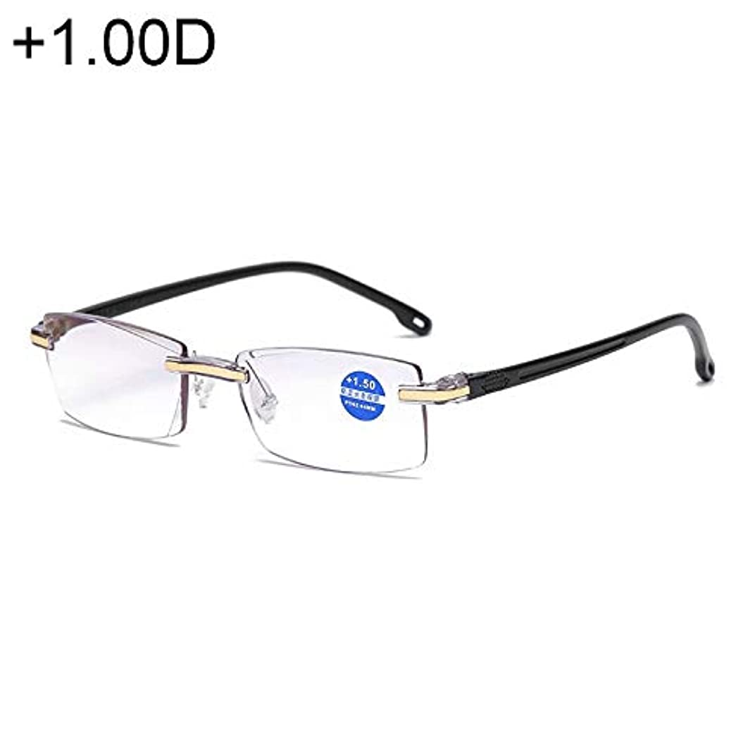 恋人競争力のある別々にDiffomatealliance Glasses メガネリムレスアンチブルーレイブルーフィルムレンズ老眼メガネ、+ 1.00D(ブラック)