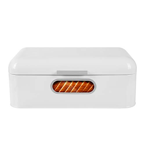 MVPOWER Brotkasten mit Sichtfenster Metall Brotbox Brotdose mit Luftzirkulation 42 x 22.5 x 16.5cm Weiß