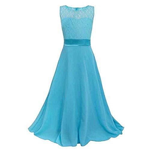 Live It Style It Mädchen lang Spitzenkleid Chiffon Abendkleid Bodenlang Kleid Hochzeit Brautjungfer Blume (11-12 Jahre/ Herstellergroße :  170, Türkis)