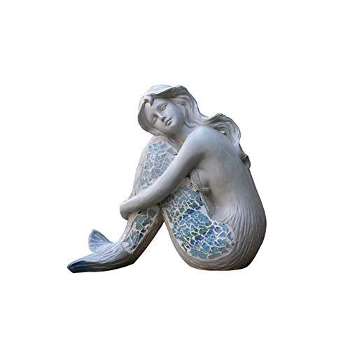 WGLG Hausdekoration Statue Figuren Meerjungfrau Dekoration Figur Skulptur Göttin Ornamente Figuren Pool Skulptur Blumentopf Gartendekoration