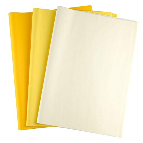 PLULON 60 Sheets Sunflower Birthday Party Yellow Tissue Paper, Gift Wrapping Paper for DIY Gift Wrapping Birthday Easter Wedding Holiday Paper Flower(Yellow)