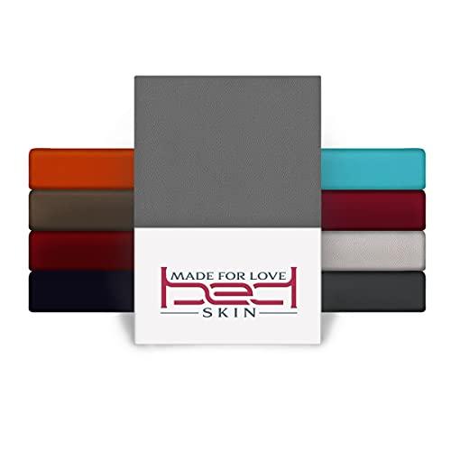 BedSkin Cama con somier y cama de agua, sábana bajera ajustable de 200 x 200 - 200 x 220 cm, 100% lana de Buam, hasta 40 cm de altura, color gris