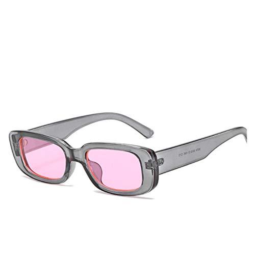 ZYHWS Gafas de Sol de la Vendimia para Las Mujeres Retro diseñador de la Marca Pequeño rectángulo Gafas de Sol Sombras de gradiente Classic Gafass (Frame Color, Lenses Color : Pink)