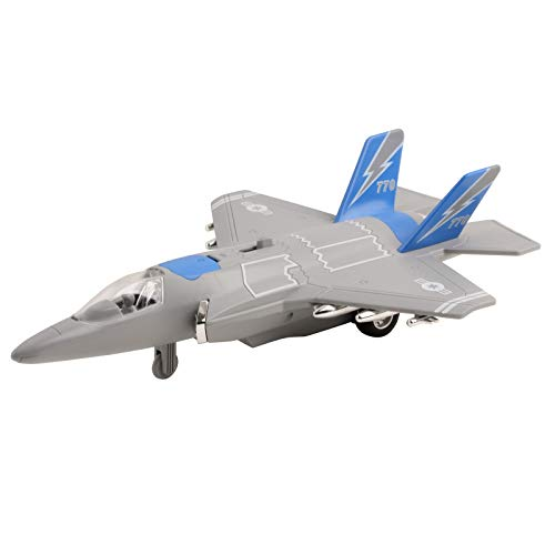 Vokodo Army Air Force Fighter Jet F-22 Toy Military Airplane Friction Powered 1:16 Scale with Fun Lights and Sounds Pretend Play Quality Kids Action Bomber Aircraft Great Gift for Children Boys Girls
