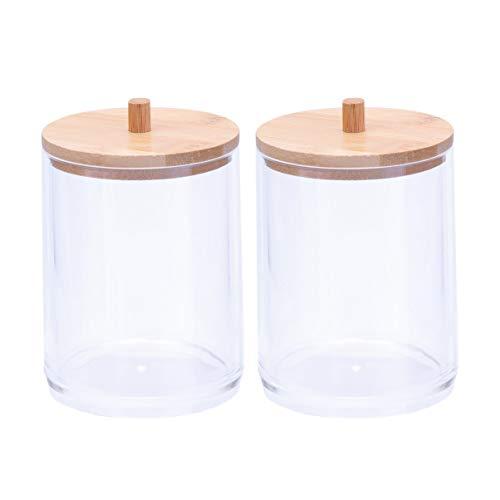 Cabilock 2 Pcs Coton Acrylique Tampons Organisateur Comptoir Pot de Stockage Étui Porte-Distributeur de Cylindre avec Couvercle en Bambou pour Sels de