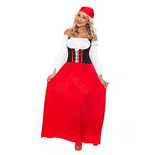 Disfraz De Oktoberfest Womeno Bavarian Fancy Dress Disfraz Alemn para Mujer Sexy Maid Oktoberfest Big Red Long Beer Jacket Disfraces De Halloween,L