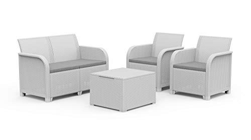 Keter Rosalie Lounge Set con Cuscini - Poltrone 65X63X74H Divano 113X65X74H Tavolino Contenitore 60X55X39H Bianco