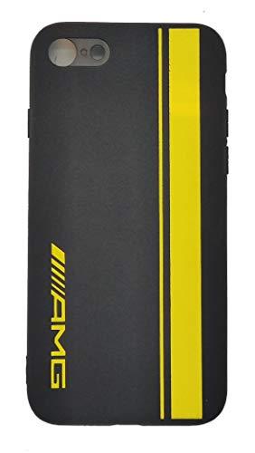 Custodia in alcantara compatibile con AMG linea gialla per cellulare compatibile con iPhone 7 8 SE